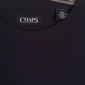 CHAPS SWEATER Cotton. Navy. Size Large. Crew Neck